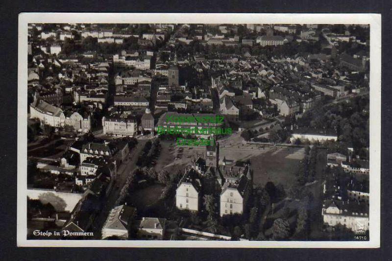Ansichtskarte Stolp Pommern Fotokarte Luftbild um 1935 0