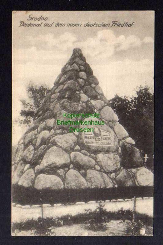 Ansichtskarte Grodno um 1918 Denkmal auf dem neuen deutschen Friedhof 0