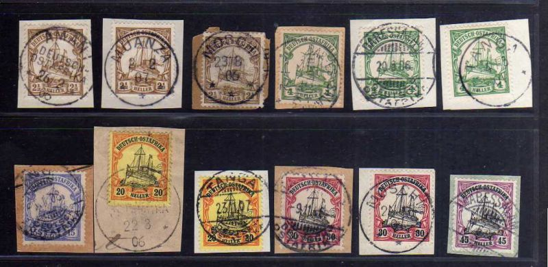 B1747 DOA 12 x Briefstück Kilossa Dar-Es-Salaam a Morogoro Moschi Buiko Wilhelms