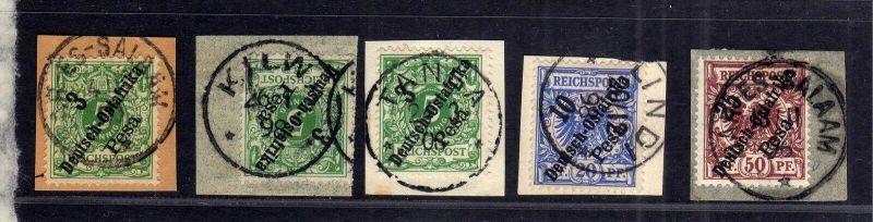 B1744 DOA 5x Briefstück Dar-Es-Salaam Kilwa Tanga Lindi 7 9 10