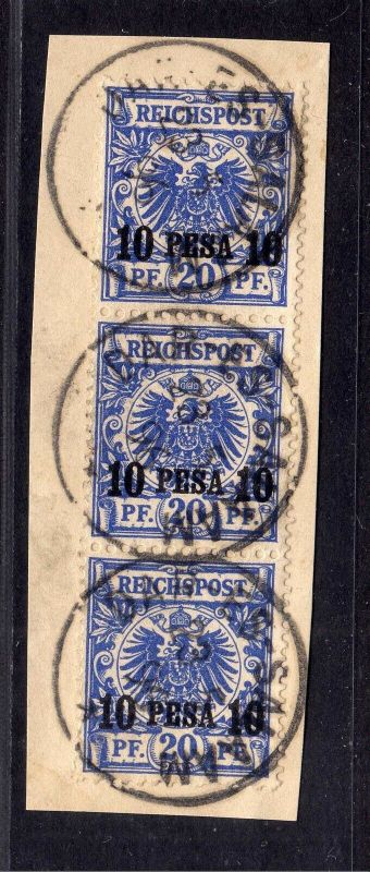 B1743 DOA 3x 4 gestempelt Briefstück Dar-Es-Salaam 23.5. 1896 Dreierstreifen