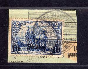 B1738 DP in der Türkei Briefstück 45 Constantinopel gestempelt PKA Paketkartenab