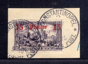 B1737 DP in der Türkei Briefstück 34 Constantinopel 2 gestempelt