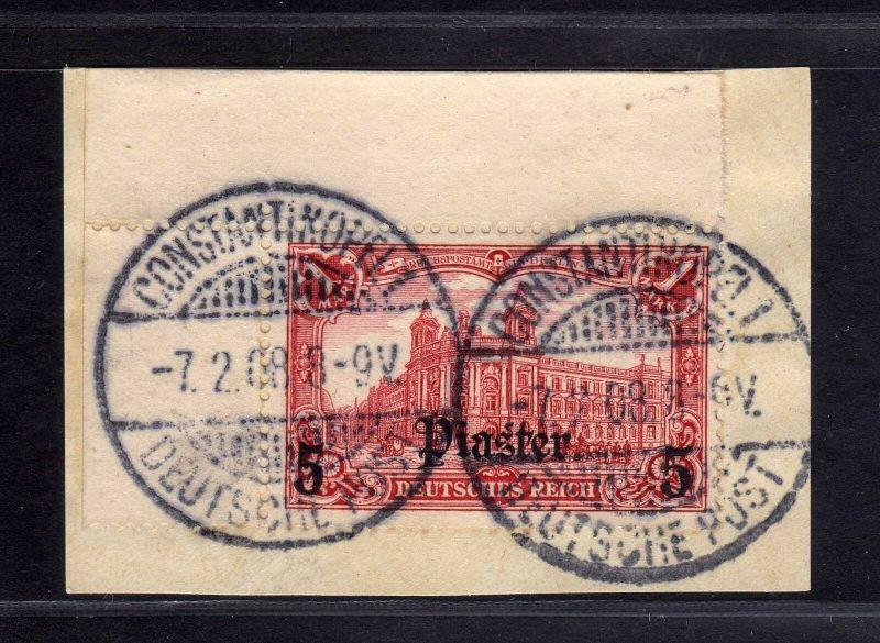 B1736 DP in der Türkei Briefstück 32 A Constantinopel 1 Bogenecke gestempelt