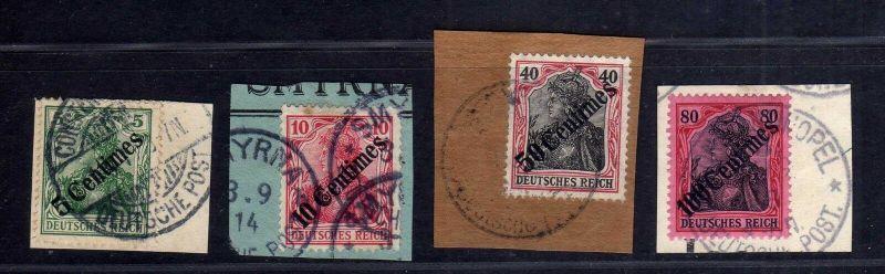 B1734 DP in der Türkei 4x Briefstück 48 49 51 52 Constantinopel Smyrna