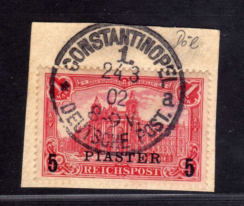 B1731 DP in der Türkei Briefstück 20Ia Constantinopel gepr. Jäschke Lantelme