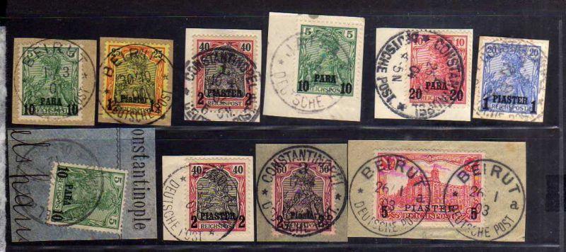 B1730 DP in der Türkei 10x Briefstück mit 20Ia Beirut Constantinopel Jerusalem J