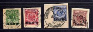 B1728 DP in der Türkei 4 Briefstücke Beirut Constantinopel auf 6c 7d 8d 10d