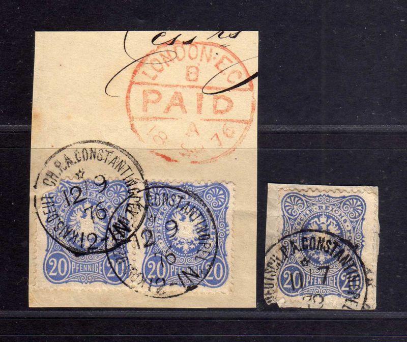 B1725 DP in der Türkei 2x Briefstück mit 3x V34a 1x Ankunftsstempel London EC PA