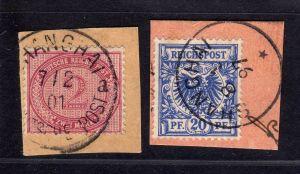 B1723 DP in China 2 Briefstücke Shanghai V37e V48d Postanweisungsabschnitt