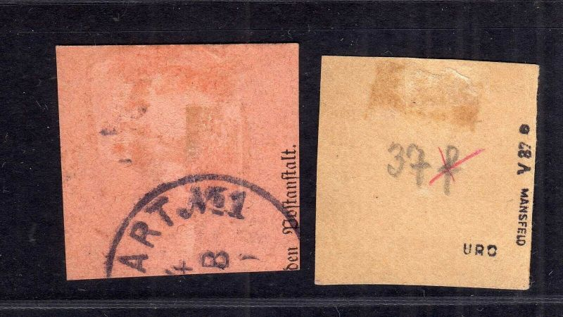 B1723 DP in China 2 Briefstücke Shanghai V37e V48d Postanweisungsabschnitt 1