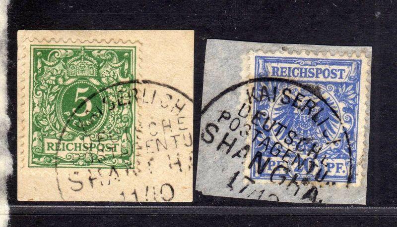 B1720 DP in China Vorläufer 2 Briefstücke Shanghai Kaiserlich Deutsche Postagent