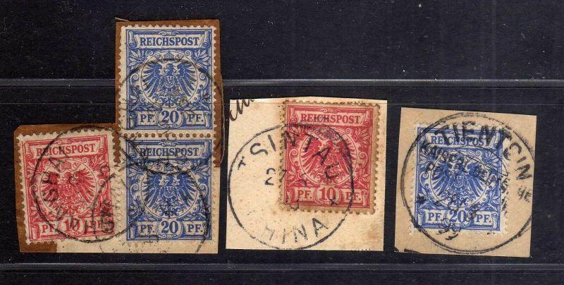 B1719 DP in China Vorläufer 3 Briefstücke Shanghai Tsingtau Tientsin