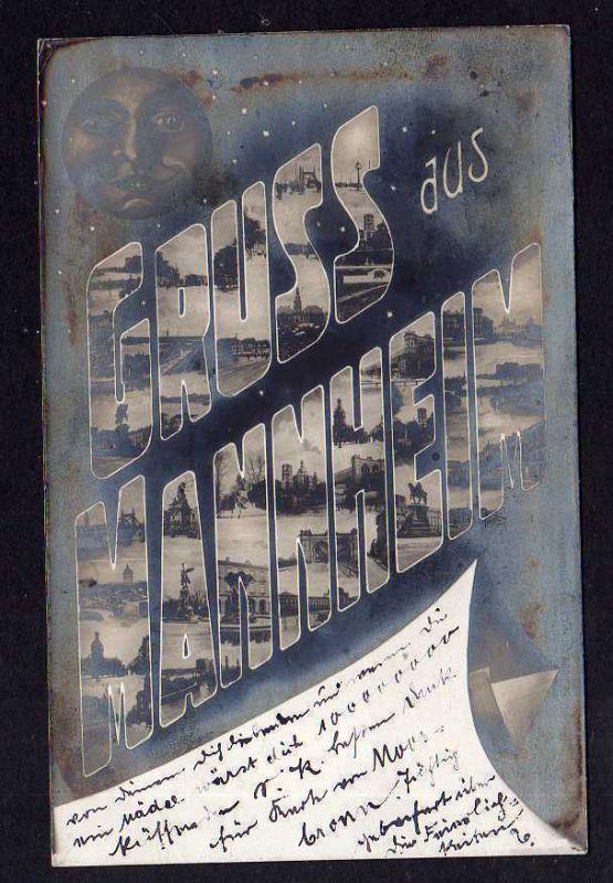 Ansichtskarte Fotokarte Gruss aus Mannheim 1906 Mond Miniaturbilder 0