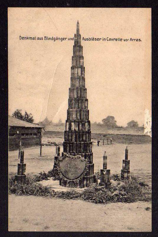 Ansichtskarte Arras France 1916 Denkmal Blindgänger Ausbläser in Cavrelle 0