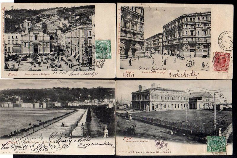 7 Ansichtskarte Napoli Neapel Piazzo Depretis al Rettifilo Hafen 1907 nach Berkley US 0