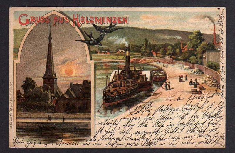 Ansichtskarte Holzminden Litho Kirche Dampfer Schwalben 1900 0