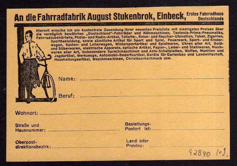 Ansichtskarte Werbekarte Fahrrad Fabrik August Stukenbrok  Einbeck um 1925 0