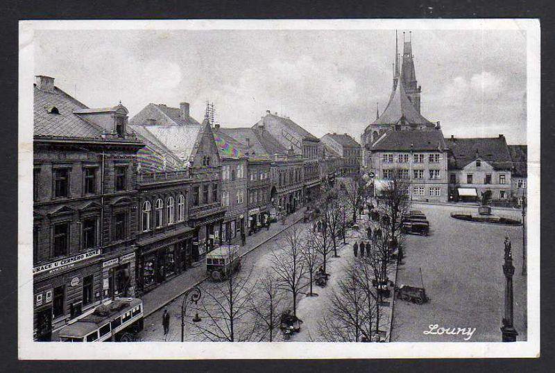 Ansichtskarte Louny Markt 1940 Feldpost Deutsche Dienstpost Böhmen Mähren 0