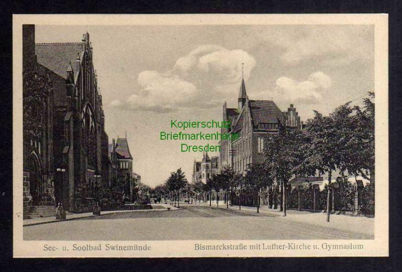 Ansichtskarte Swinemünde Friedrich Straße mit Luther Kirche Gymnasium um 1920