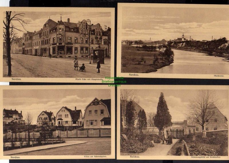 4 Ansichtskarte Nerchau um 1930 Mulde Kirchhoftor Markt Weinhandlung Delikatessen Vi 0