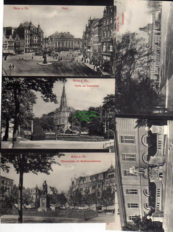 5 Ansichtskarte Bonn a. Rh. Markt Kaiserplatz Münsterplatz Beethovendenkmal Universi 0