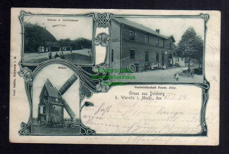 Ansichtskarte Drieberg bei Warnitz 1905 Windmühle Mole Gastwirtschaft Juby Schule 0