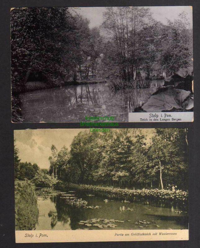 2 Ansichtskarte Stolp i. Pom. 1906 Teich in den Langen Bergen Goldfischteich 0