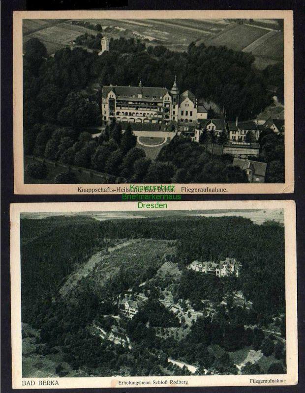 2 Ansichtskarte Bad Berka Thüringen Luftbild um 1935 Fliegeraufnahme Schloß Rodberg 0