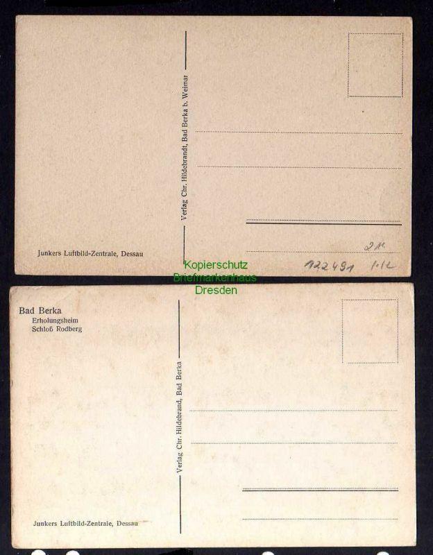 2 Ansichtskarte Bad Berka Thüringen Luftbild um 1935 Fliegeraufnahme Schloß Rodberg 1