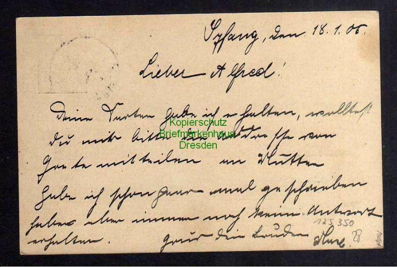 Kiautschou Ganzsache bedarf 1905 Absender Ortsangabe Syfang geprüft Pauli 1