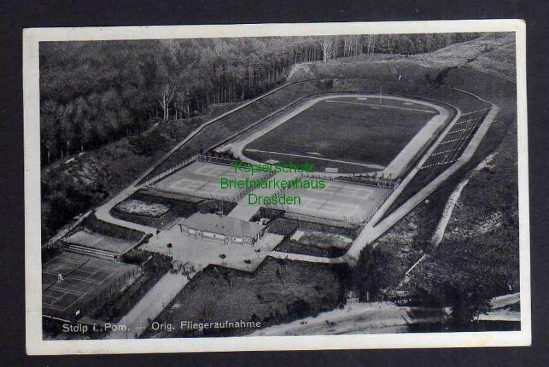 Ansichtskarte Stolp in Pom. Orig. Fliegeraufnahme Stadion Tennisplatz 1937