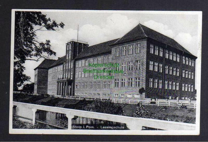 Ansichtskarte Stolp i. Pom. Lessigschule 1935