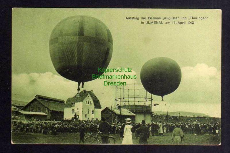 Ansichtskarte Ilmenau 17. April 1910 Aufstieg der Ballone Augusta und Thüringen nebe 0