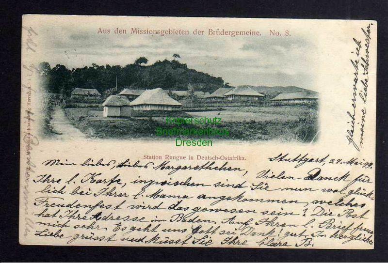 Ansichtskarte Station Rungue in Deutsch Ostafrika 1899 Brüdergemeinde No. 8