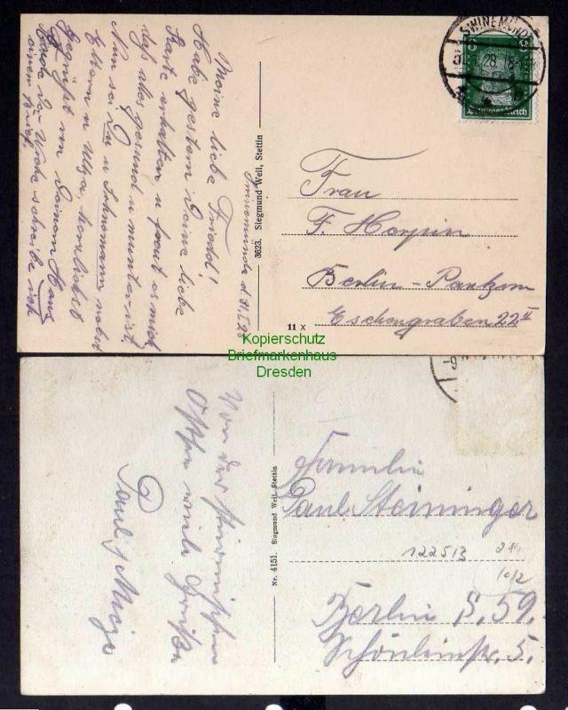 2 Ansichtskarte Swinemünde Ostsee Kurheim 1928 Ostseehotel 1