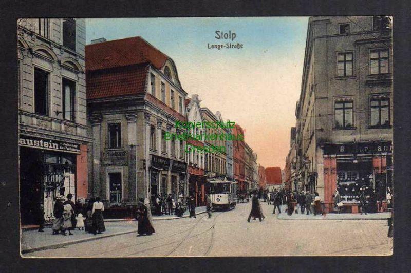 Ansichtskarte Stolp i. Pom. 1925 Lange Straße Geschäfte Straßenbahn