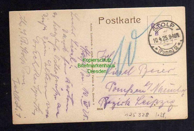 Ansichtskarte Stolp i. Pom. 1925 Lange Straße Geschäfte Straßenbahn 1