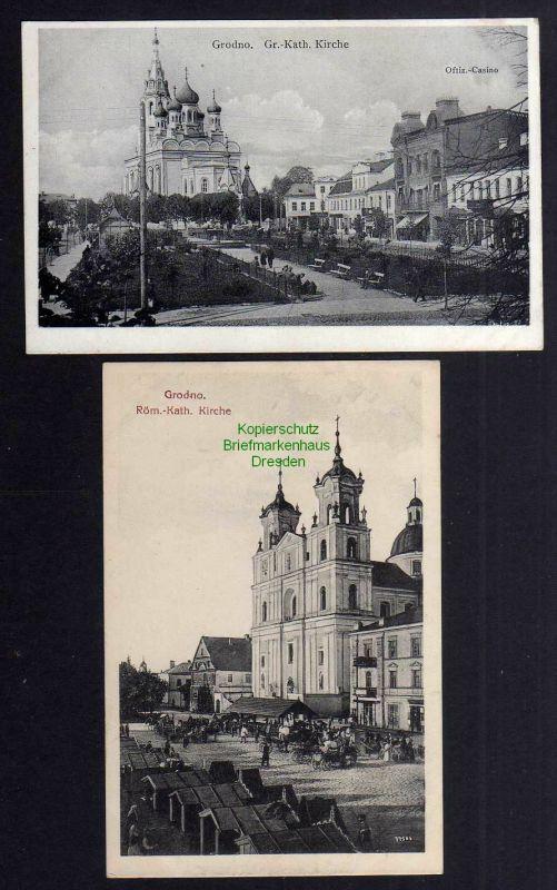 2 Ansichtskarte Grodno 1918 Gr. Kath. Kirche Offiz. Casino Marktstände 0
