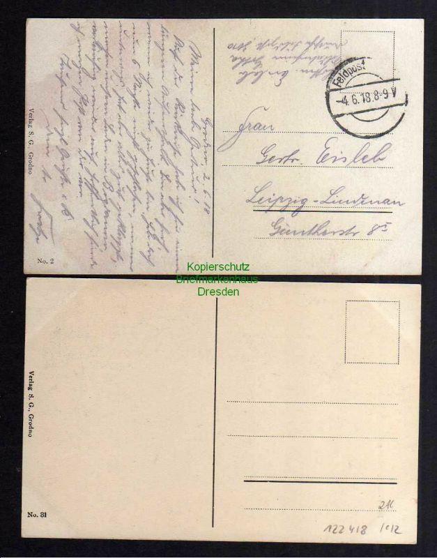 2 Ansichtskarte Grodno 1918 Gr. Kath. Kirche Offiz. Casino Marktstände 1