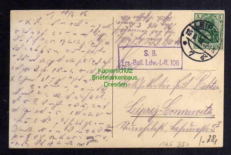 Ansichtskarte Leipzig 1916 Schule Elsässerstrasse im Weltkrieg 1914 / 16 Kaserne Inf 1