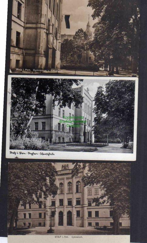3 Ansichtskarte Stolp i. Pom. 1929 Gymnasium Kreishaus 1929 Oberschule 1942