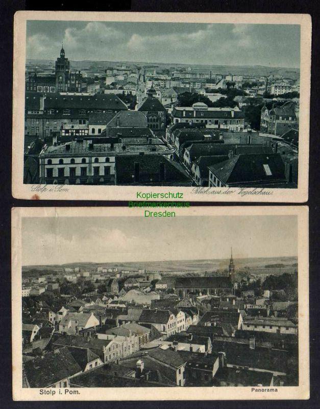 2 Ansichtskarte Stolp i. Pom. 1928 Panorama Blick aus der Vogelschau