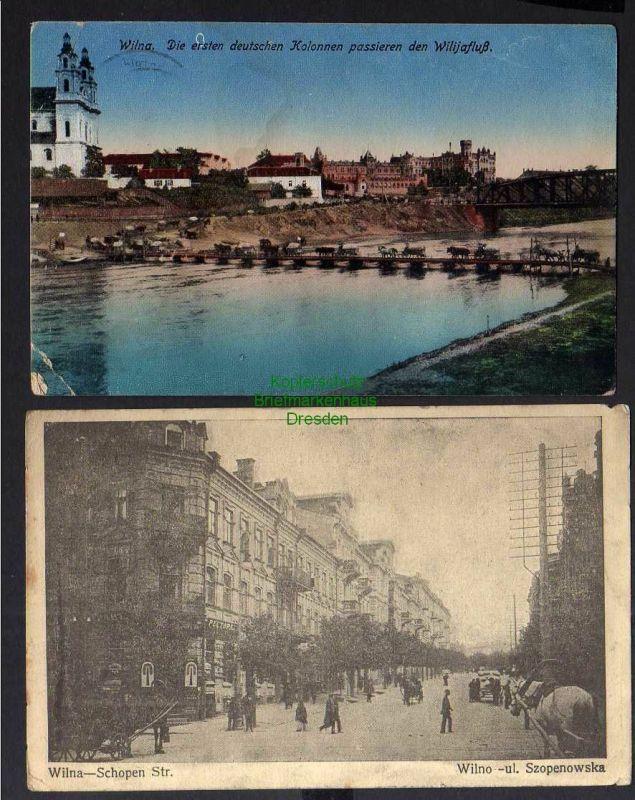 2 Ansichtskarte Wilna Vilnius Litauen 1918 Schopen Straße 1915 Feldpost 0