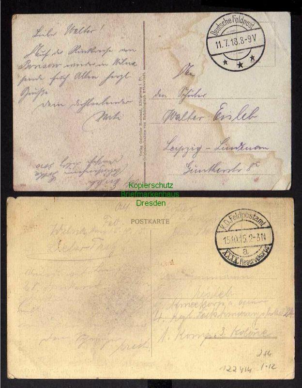 2 Ansichtskarte Wilna Vilnius Litauen 1918 Schopen Straße 1915 Feldpost 1