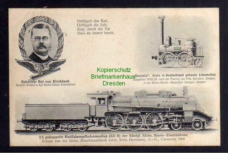 Ansichtskarte Eisenbahn Lokomotive Saxonia 3/5 gekuppelte Heißdampflokomotive Königl 0