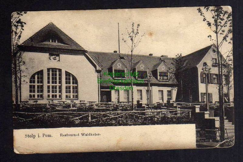 Ansichtskarte Stolp i. Pom. Restaurant Waldkater um 1910