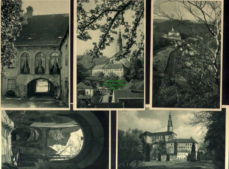 5 Ansichtskarte Schloss Weesenstein Felsengang Schloßhof Baumblüte Dorf Weesenstein 0