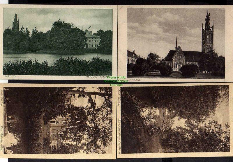 4 Ansichtskarte Wörlitz Park 1916 Weisse Brücke Gothisches Haus Schloss 0
