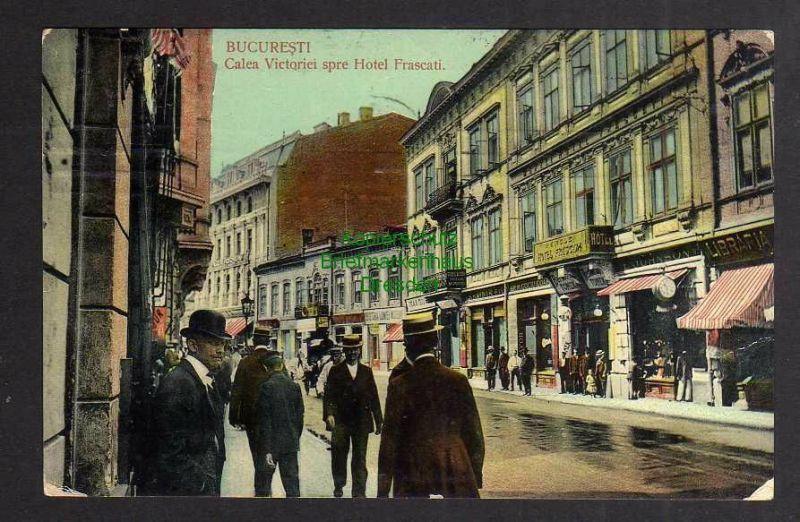 Ansichtskarte Bukarest Bucuresti 1911 Calea Victoriei spre Hotel Frascati 0